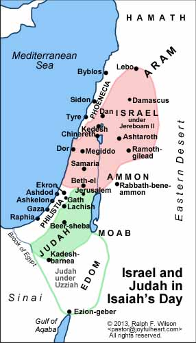 Kingdoms of Israel and Judah at the time Isaiah began his ministry, about 750 BC.
