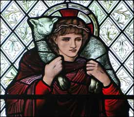 Edward Burne-Jones, 'Good Shepherd' stained glass window (1895), Harris Manchester College, Oxford.