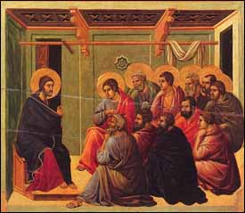 Duccio di Buoninsegna, 'Christ Taking Leave of His Disciples' panel from the Maesta Altarpiece (1308--1311), Museo dell'Opera Metropolitana del Duomo, Siena, Italy.
