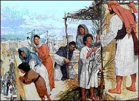 The annual Feast of Tabernacles or Booths (Hebrew Sukkot) celebrated the Israelites' camping in the Wilderness. To recall this, each family would build a temporary shelter in which to eat. Jesus went up to Jerusalem during this Feast. Artist unknown.
