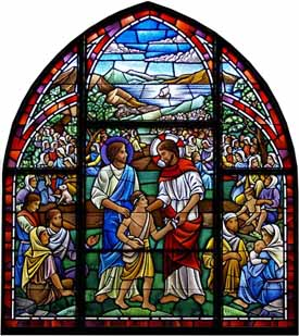 'Feeding the Multitude' window (2000-2001), St. Andrews Episcopal Church, Ayer, Massachusetts, under the direction of Scott McDaniel, Art Director, Stained Glass Resources, Hamden, MA.