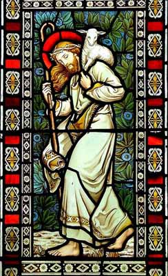 Good Shepherd, stained glass window at All Saints Church, Alburgh, Norfolk, UK, by Powell of London (1872). Photo � by Simon Knott. Used by permission.