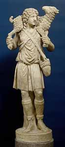 Statue of the Good Shepherd (c. 300-350), marble, 39 inches high. Rome, from Catacomb of Domitilla, Vatican, Museo Pio Cristiano.