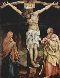 Zechariah prophesies that the Jews will finally, 'look on me, the one they have pierced, and they will mourn' (Zechariah 12:10). This painting of the crucifixion is by Matthias Grünewald, �Die Kreuzigung Christi� (1523-1524), Tauberbischofsheimer Altar, 193 x 151 cm. Kunsthalle, Karlsruhe, Germany.