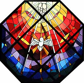 Holy Spirit / Trinity Window (1952), stained glass, above the altar at Our Lady of Fatima Church, Bridgeport, Connecticut, by O'Duggan Studios, Boston.