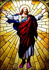 'Jesus in His Glory' (c. 1898), stained glass, San Francisco Columbarium, San Francisco, California.
