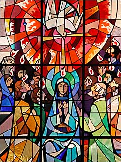 �Pentecost,� stained glass window, St Aloysius' Catholic Church, Somers Town, London. Photo: Fr. Francis Lew, O.P. Used by permission.