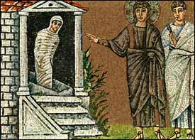'The Raising of Lazarus' (6th century), mosaic, Basilica of Sant' Apollinare Nuovo, Ravenna.