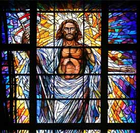 Detail of �Resurrection� stained glass window, Co-Cathedral of the Sacred Heart, Houston, 2008, full size is 40ft x 20ft. Designed and constructed by Mellini Art Glass and Mosaics in Florence, Italy.