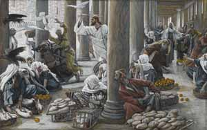 James J. Tissot, �The Merchants Chased from the Temple� (1886-94), gouache on paper, 7.25x11.6, Brooklyn Museum.