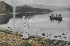 James J. Tissot, �Jesus Christ Appears on the Shore of Lake Tiberias� (1884-96), gouache on gray wove paper, 5-7/8� x 9-1/16�, Brooklyn Museum, New York.