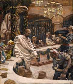 James J. Tissot, �The Marriage at Cana� (1886-94), gouache on paper, 9x7.8�, Brooklyn Museum, New York.