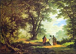 Robert Zünd, 'The Road to Emmaus' (1877), oil on canvas, 119.5 x 158.5 cm., Kuntzmuzeum, St. Gallen, Switzerland.