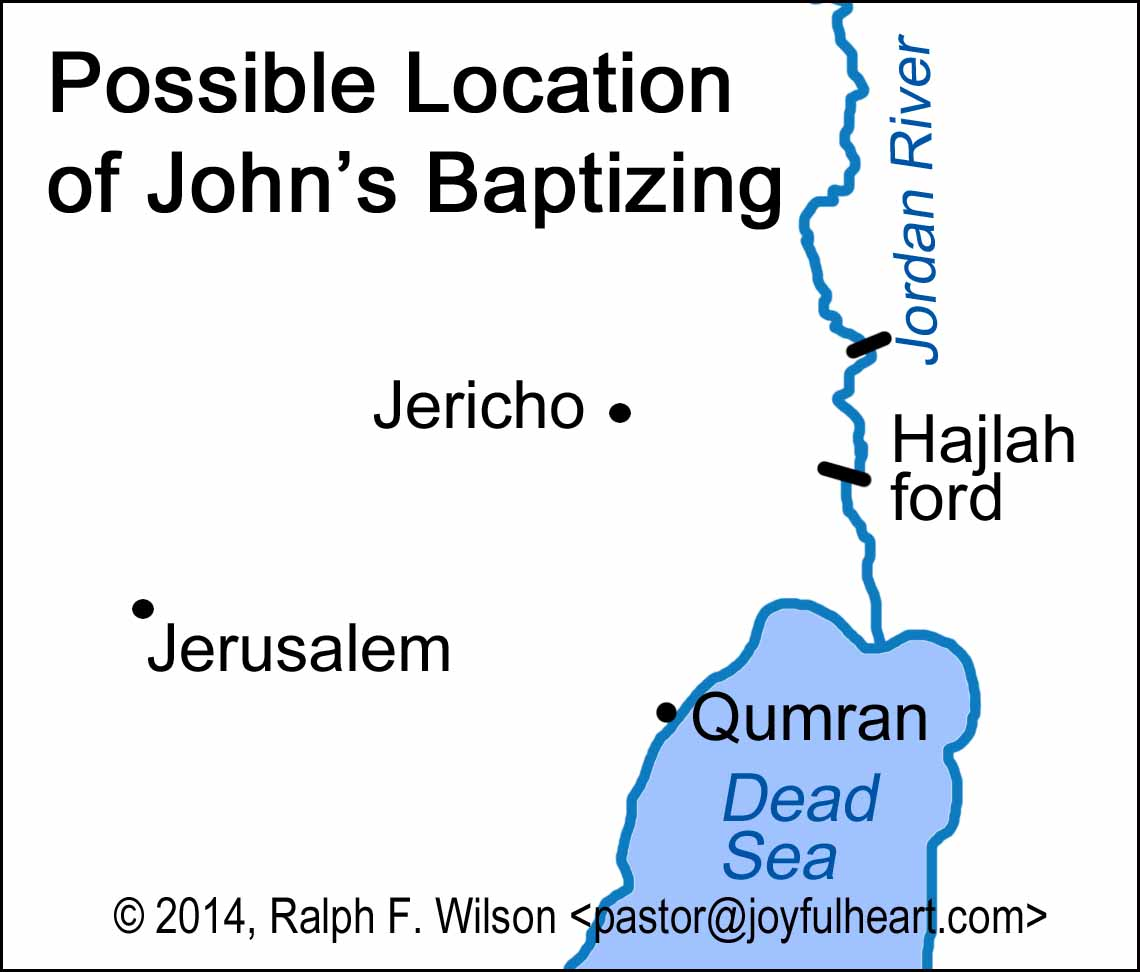 Maps related to John's Gospel, by Ralph F. Wilson on map of jesus in wilderness, map of palestine in jesus day, map of judea in jesus time, map jesus' baptism and temptation, map of baptism of jesus, map of where was john baptizing, map of where jesus traveled in his lifetime, map of john jesus 1-4, map of where jesus went, map of samaria in jesus time, map of jesus travels, map of the jordan river jesus was baptized, map of galilee in jesus time,