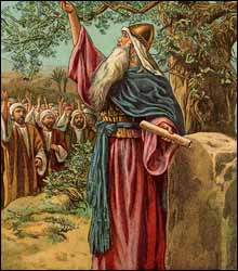 'Joshua Renewing he Covenant with Israel,' unknown illustrator, Bible card. c. 1907, Providence Lithograph Co.