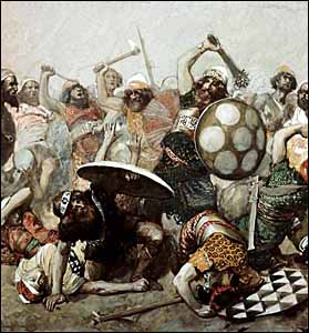 James J. Tissot, 'Joshua Destroys the Giants' (1896-1902), gouache on board, 8.75 x 8.25 in., The Jewish Museum, New York.