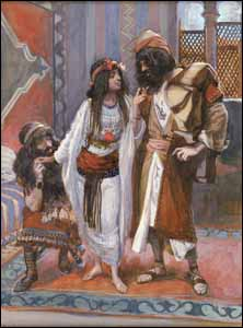 James J. Tissot, The Harlot of Jericho and the Two Spies' (1896-1902), gouache on board, 9-1/16�6-5/8 in, The Jewish Museum, New York.