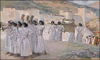 James J. Tissot, 'The Seven Trumpets of Jericho' (1896-1902), gouache on board, 7-5/16 x 12-1/16 in., The Jewish Museum, New York.