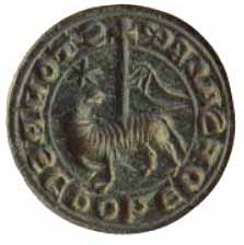 Agnus Dei, seal matrix (1250-1400 AD), Wiltshire, England, copper alloy, 21.7 mm diameter.