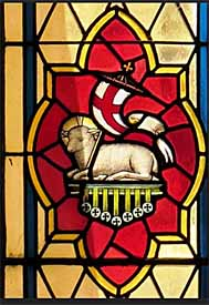 Agnus Dei, stained glass, St Patrick's Catholic Church, Lilydale, Victoria, Australia.