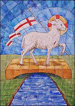 'Conquering Lamb of Revelation,' an original watercolor by Ralph F. Wilson (10 x 14 inches).