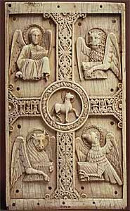 Plaque with Agnus Dei on a Cross between Emblems of the Four Evangelists (1000-1050 AD), ivory, Benevento, south Italy, Metropolitan Museum of Art, New York, 9.25 x 5.4 x 3/8 in.