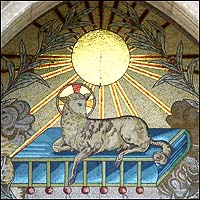 Ontario, Canada, church doorway, Behold the Lamb of God, mosaic with gilded sun above Lamb.