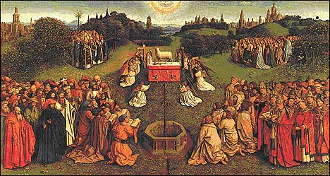 Adoration of the Lamb, by Jan van Eyck (1432), Ghent Altarpiece