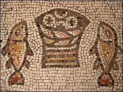 4th century mosaic of Loaves and Fish at Tabgha