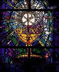 Communion stained glass window. Location unknown.
