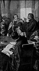 Luther and Zwingly at the Marburg Colloquy