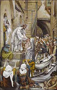James J. Tissot, 'All the City Was Gathered at His Door' (1886-94), gouache on gray wove paper, 11.19 x 17.06 in., Brooklyn Museum, New York.