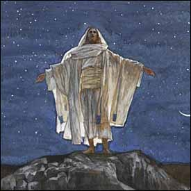 James J. Tissot, detail of 'Jesus Goes Up Alone onto a Mountain to Pray' (1886-94), gouache on gray wove paper, Brooklyn Museum, New York.