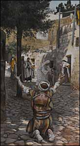James J. Tissot, 'Healing of the Lepers at Capernaum' (1886-94), gouache on gray wove paper, 11.25 x 6.2 in., Brooklyn Museum, New York.