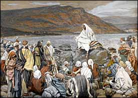 James J. Tissot, 'Jesus Teaches the People by the Sea' (1886-94), gouache on gray wove paper, 6.6 x 9.2 in., Brooklyn Museum, New York.