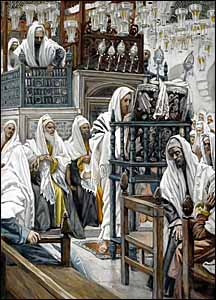 James J. Tissot, 'Jesus Unrolls the Book in the Synagogue' (1886-94), gouache on gray wove paper, 10.6 x 7.6 in., Brooklyn Museum, New York.