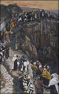 James J. Tissot, 'The Brow of the Hill Near Nazareth' (1886-94), gouache on gray wove paper, 8.7 x 5.25 in., Brooklyn Museum, New York.