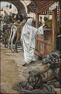 James J. Tissot, 'The Calling of Saint Matthew' (1886-94), gouache on gray wove paper, 10.25 x 6.67 in., Brooklyn Museum, New York.