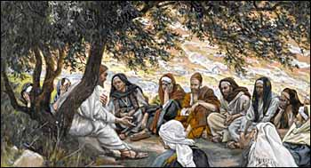 James J. Tissot, 'The Exhortation to the Apostles' (1886-94), gouache on gray wove paper, 6.4 x 8.7 in., Brooklyn Museum, New York.