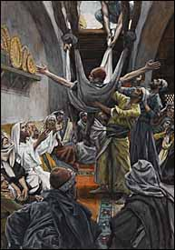 James J. Tissot, 'The Palsied Man Let Down through the Roof' (1886-94), gouache on gray wove paper, 9.6 x 6.6 in., Brooklyn Museum, New York.