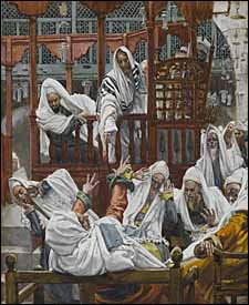 James J. Tissot, 'The Possessed Man in the Synagogue' (1886-94), gouache on gray wove paper, 8.16 x 6.57 in., Brooklyn Museum, New York.
