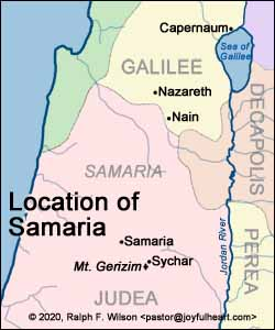 The border between the province of Galilee and the area of Samaria, which is in the Roman province of Judea.