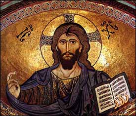 Christ Pantocrator (1148 AD), mosaic, dome of Cathedral of Cefalu, Palermo, Italy