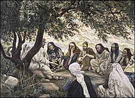 Jesus teaching his disciples, by James J. Tissot