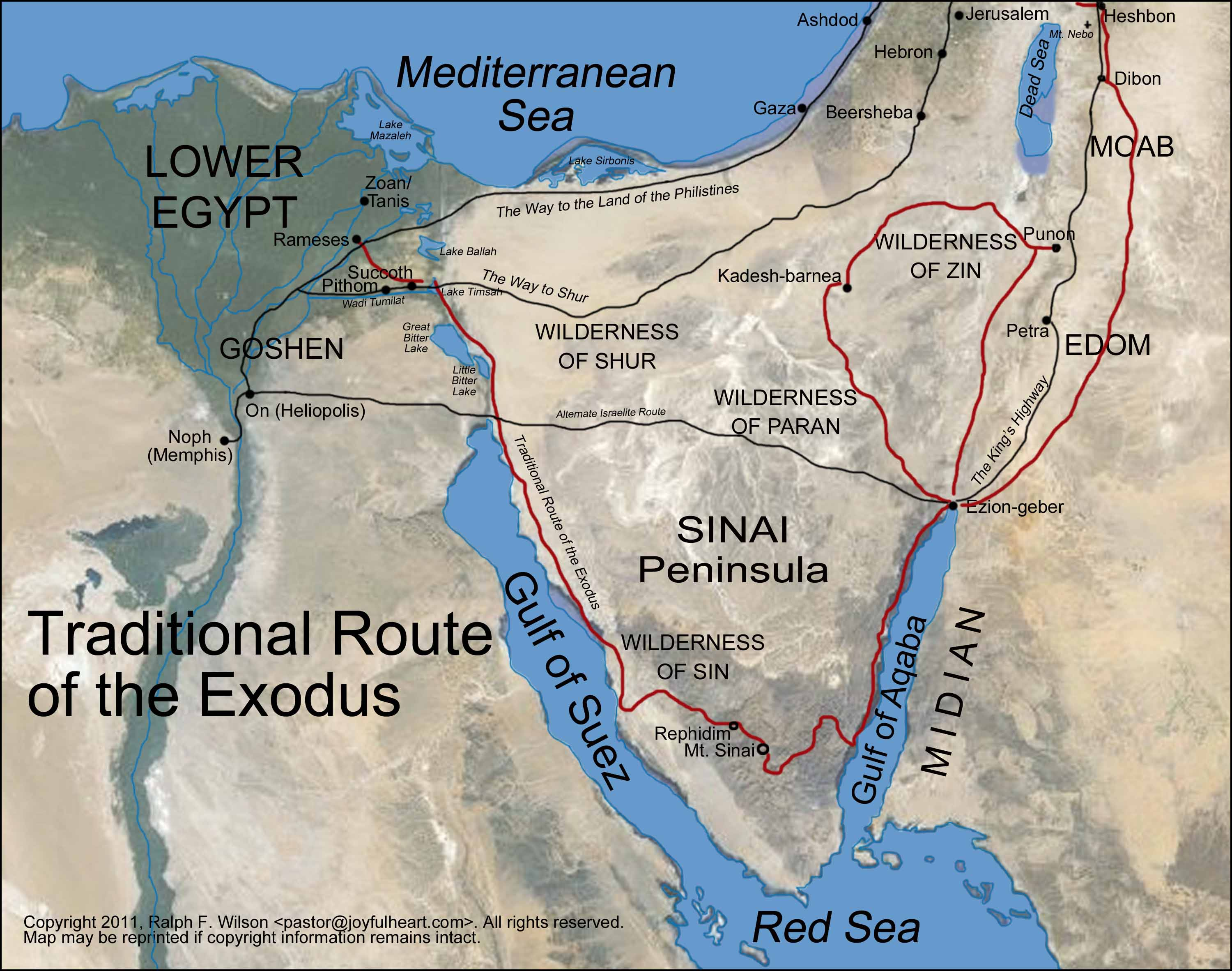 Appendix The Route Of The Exodus Moses Bible Study - Map of egypt during exodus