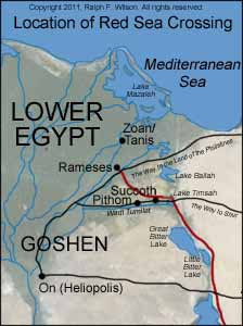 Proposed route of the Exodus from Rameses to the Red Sea, and Reed Sea crossing