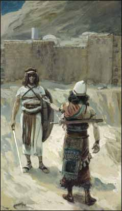 James J. Tissot, 'Joshua and the Angel before Jericho' (1896-1902), gouache on board, The Jewish Museum, New York.