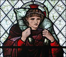 Edward Burne-Jones, Good Shepherd stained glass window (1895), Harris Manchester College, Oxford