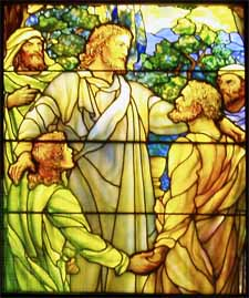 Jesus is the one who calls men and women to follow his Way. Louis Comfort Tiffany, detail from 'Christ and the Apostles' (1890), Richard H. Driehaus Gallery of Stained Glass at Navy Pier, Chicago