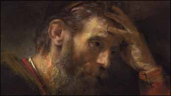 Rembrandt, detail from �Apostle Paul� (1657), oil on canvas, National Gallery of Art, Washington, DC.
